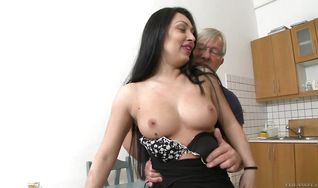 Strong lad intensely fucks divine brunette Rosalina Love's round bum in doggy style