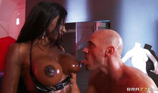 Sweet ebony girlie Diamond Jackson with massive tits receives a throbbing fuck stick in her perfect bum