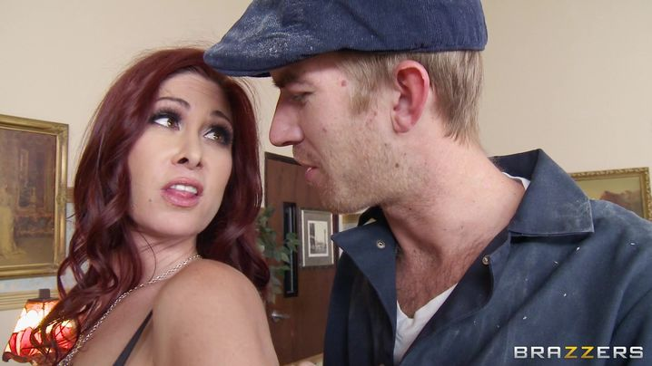 Insatiable redhead girl Tiffany Mynx with big natural tits receives a hard lever in her tight ass