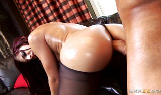 Pretty redhead Mischa Brooks with curvy natural tits is getting ass fucked like never before