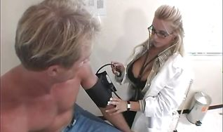 Appetizing blonde Holly Halston uses her tits and butt to please him