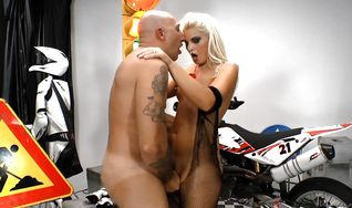 Goluptious floozy Ionella Dantes is licking and sucking a huge prick before she got booty fucked