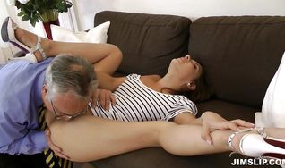 Frisky brunette Henessy bends over and gets her meaty booty drilled