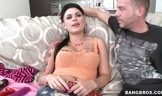 Attractive woman Eva Angelina bends over and gets her tight bum filled up with rock hard sausage