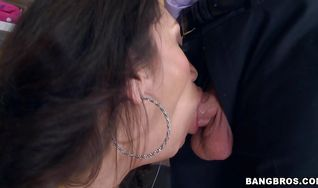 Filthy latin brunette girlfriend Vicki Chase fondles her meaty butt while cheerfully giving a blowjob