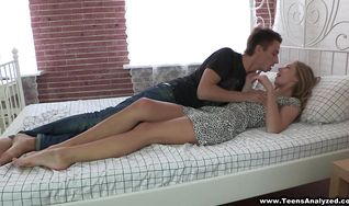 Foxy blonde teen Inna likes to suck a rock hard meat before anal sex