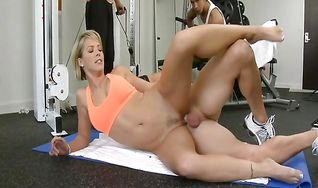 Exquisite blonde Kayla Synz with large natural tits craves for a meaty bazooka in her booty