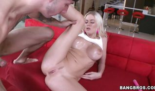 Heavenly blonde sweetie Riley Evans with firm tits has her butt intensely fingered before being plowed