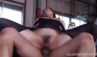 Amazing mature Marina Matsumoto is getting ass banged with her legs spread wide and enjoying it a lot